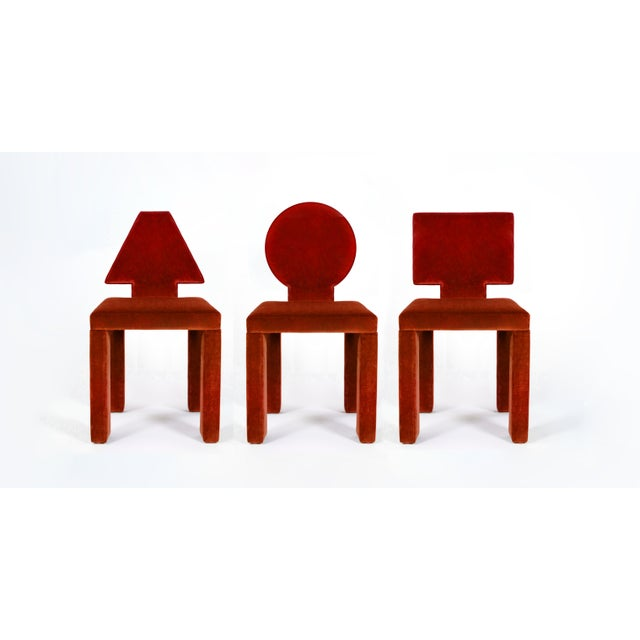 Set of unique contemporary dining chairs - inspired by Mondrian, these simple impactful pieces are bold and impactful....
