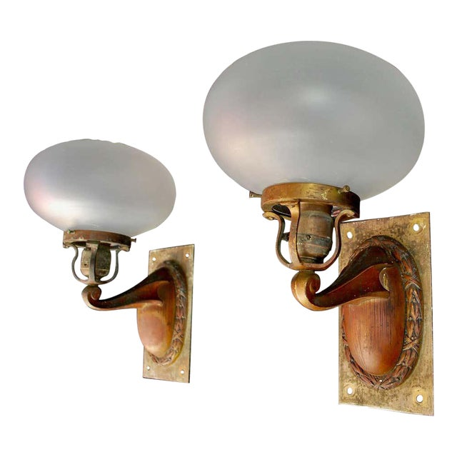 1920s Brass and Glass Outdoor/Indoor Sconces - a Pair For Sale
