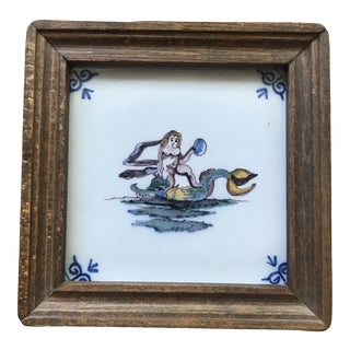 20th Century Dutch Nymph Sea Monster Framed Polychrome Tile For Sale
