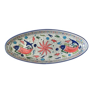 "Nautical 22"" Long Oval Handpainted Tunisian Fish Bowl For Sale"