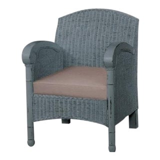 Wicker Armchair Chair in Light Blue - Vintage Coastal Style Accent Chair Linen For Sale