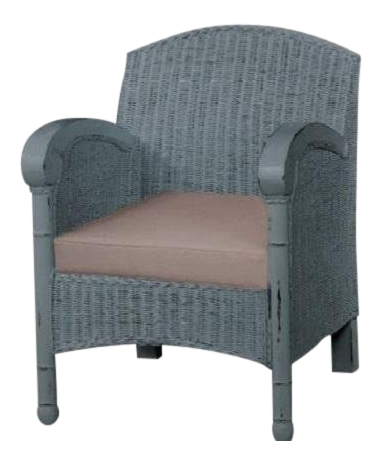 Wicker Armchair Chair In Light Blue   Vintage Coastal Style Accent Chair  Linen For Sale