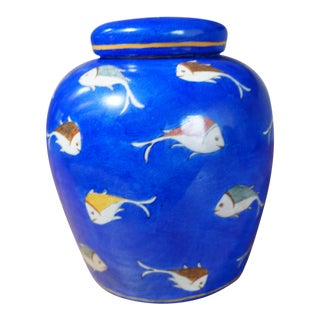 Blue Koi Fish Motif Ginger Jar For Sale