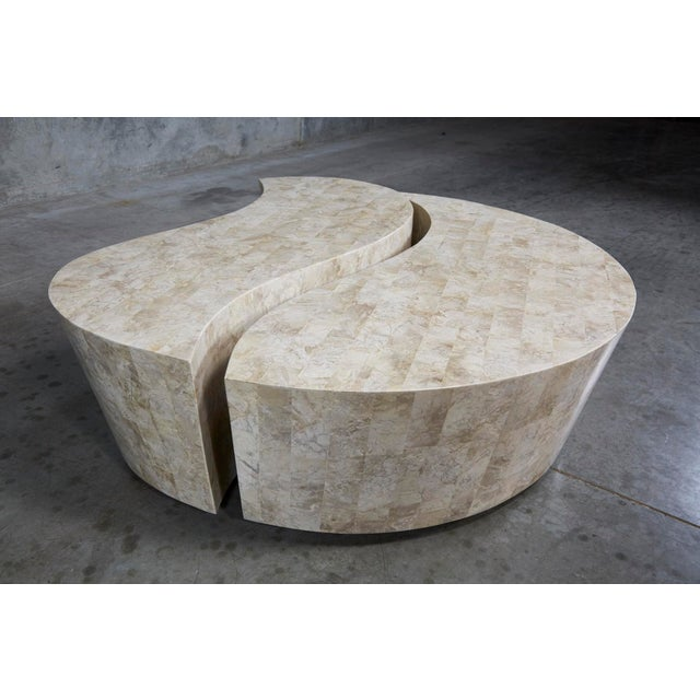 """Large scale two part """"Hampton"""" cocktail or coffee table. Separate, curvaceous forms nest into each other and can be..."""