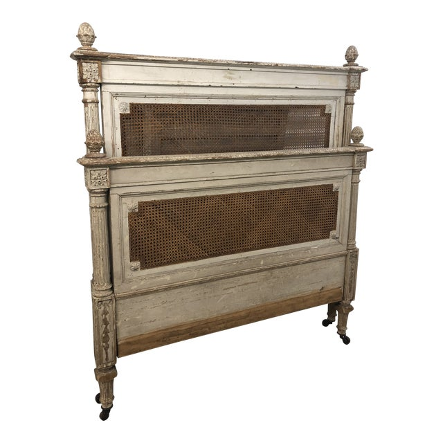 Antique French Cane Twin Headboard and Footboard - 2 Pieces For Sale