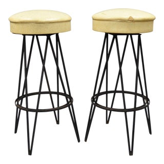 Vintage Wrought Iron Metal Hairpin Leg Stools - A Pair