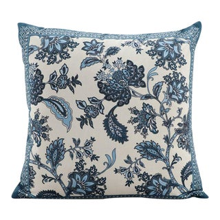 Bohemian Silk Floral Blue Ivory Pillow For Sale