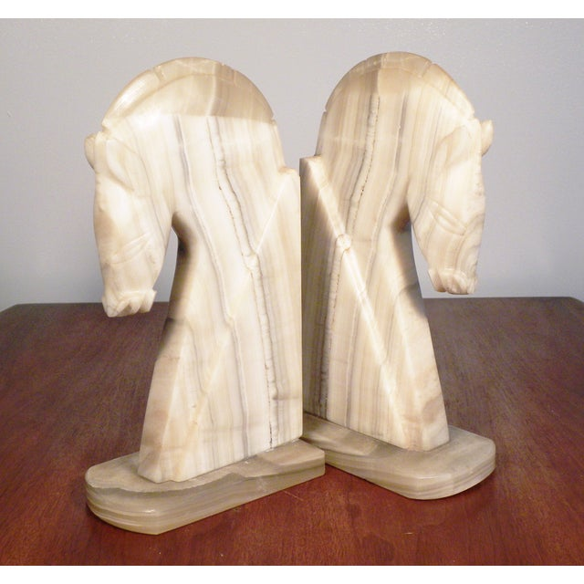 Vintage Large Horse Head Agate Bookends - Set of 2 - Image 3 of 6