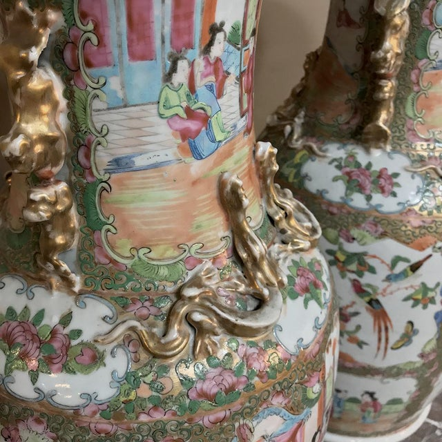 Late 19th Century Pair 19th Century Hand-Painted Cantonese Rose Medallion Porcelain Vases For Sale - Image 5 of 13