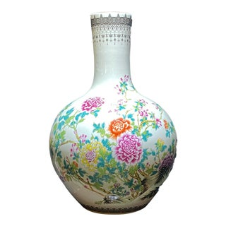 """Large Chinoiserie Porcelain Onion Shaped Vase 22"""" H For Sale"""