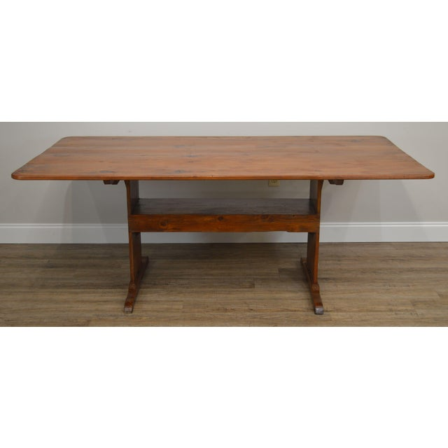 High Quality Custom Crafted Solid Distressed Pine Wood Tilt Top Trestle Base Dining Table