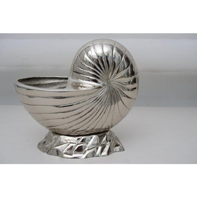 2010s Bespoke Nickel-Plated Nautilus Shell Cachepot For Sale - Image 5 of 6