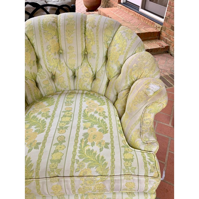 Wood 1960s W & J Sloane Shabby Chic Tub Chairs With Casters & Original Upholstery - a Pair For Sale - Image 7 of 10