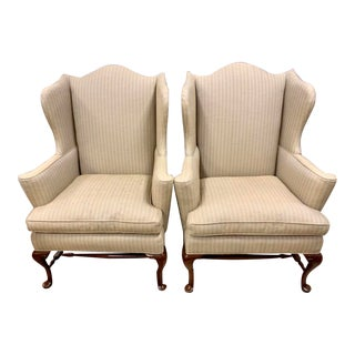 Pair of Henredon Chippendale Wingback Chairs For Sale