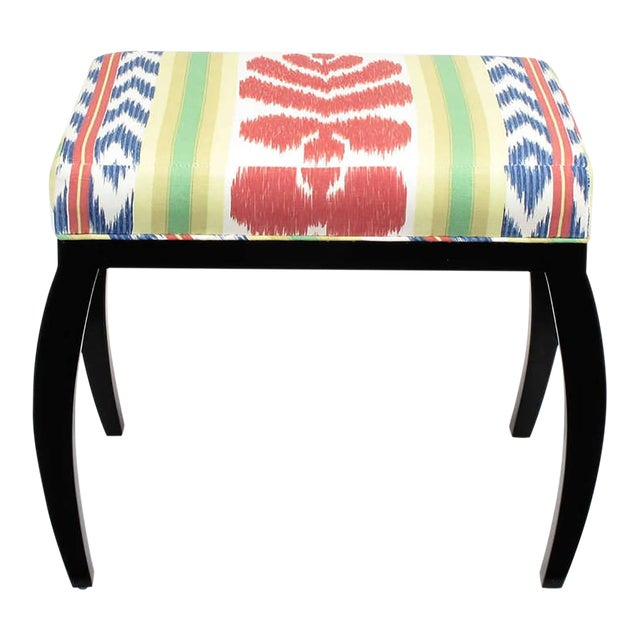 Pair of Interior Crafts Black Lacquer and Ikat Benches - Image 1 of 8