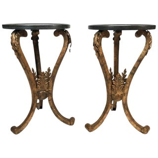Pair of 19th Century French Neoclassical Gilt Metal Stands With Marble Tops For Sale