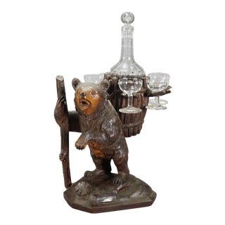 1920 Swiss Hand Carved Wood Bear Liqueur Stand For Sale