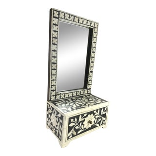 Bone Inlay Table Top Mirror Over a Drawer For Sale