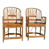 Image of 1970's Brighton Pavilion Style Chinoiserie Bamboo Caned Arm Chairs - a Pair For Sale
