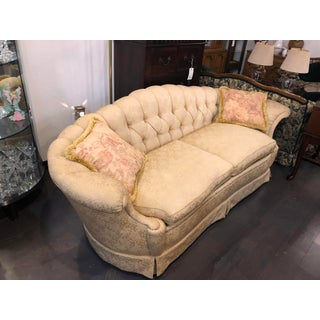 1940s Vintage Gold Clamshell Tufted Sofa Preview