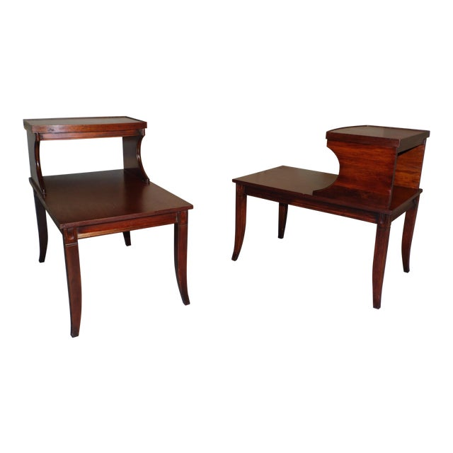 Vintage Federal Style Step Sabre End Tables - A Pair For Sale