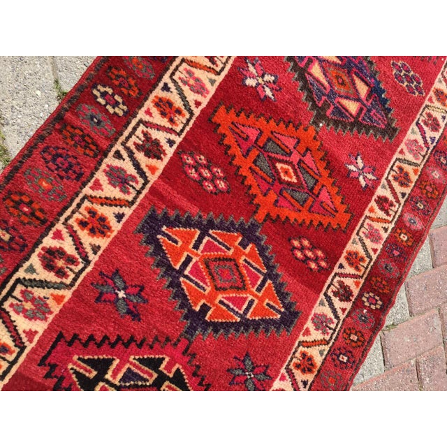 Textile Vintage Hand Knotted Turkish Runner For Sale - Image 7 of 9