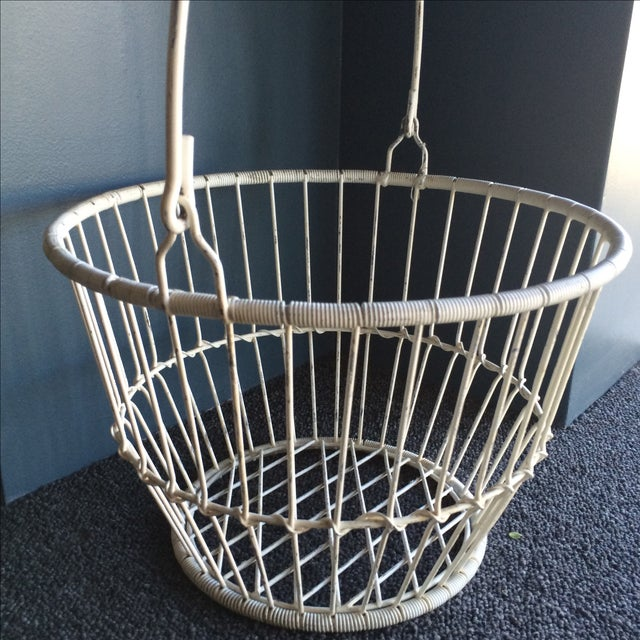 Vintage White Metal and Wire Basket - Image 5 of 7