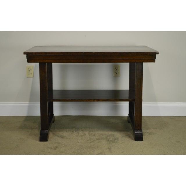 1910s j.k. Rishel Antique Arts & Crafts Mission Oak Library Table Desk No. 811 For Sale - Image 5 of 13
