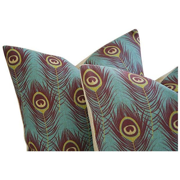 Custom Peacock Feather Linen Pillows - Pair - Image 5 of 7