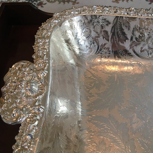 Approx. 1914 deep tray with hand applied silver plate over copper. The method of silver application by Barker Ellis is...