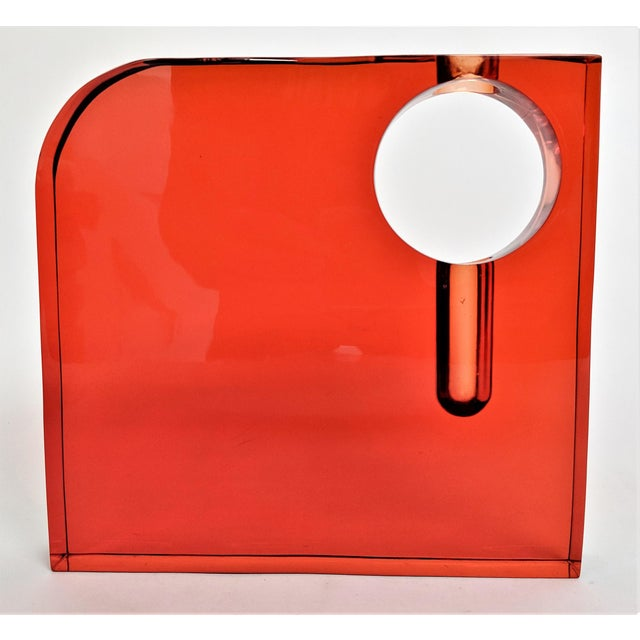Mid-Century Modern Orange Lucite Bud Vase For Sale - Image 3 of 11