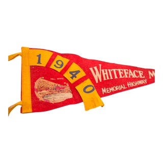 Vintage 1940 Whiteface Mt Memorial Highway Felt Flag Pennant For Sale