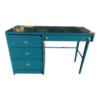 1960s Stanley Mid Century Modern Teal Wood Desk With Glass Top For Sale