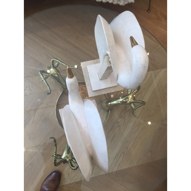 Mid-Century Modern Maitland-Smith Tessellated Stone/Brass Swans - A Pair For Sale - Image 3 of 9