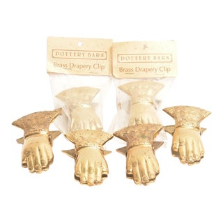 Vintage Brass Hands Drapery Clips - Set of 6 For Sale