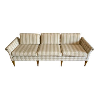 1960s Baker Furniture Couch With Gold and Wood Legs and Floral Hardware Detailing For Sale