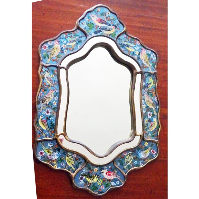 Reverse Glass Hand-Painted Bird Mirror For Sale - Image 9 of 9