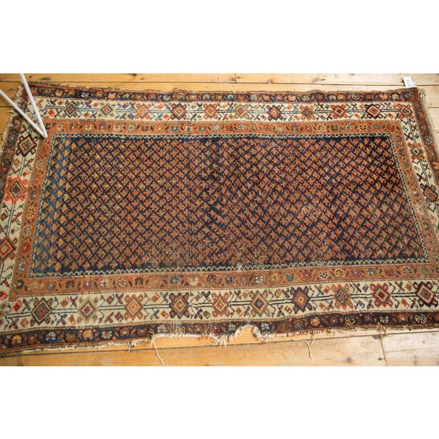"Cotton Vintage Hamadan Rug - 3'7"" X 6' For Sale - Image 7 of 12"