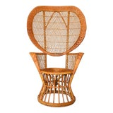 Image of Vintage Boho Chic Handcrafted Wicker, Rattan and Reed Peacock High Back Chair For Sale