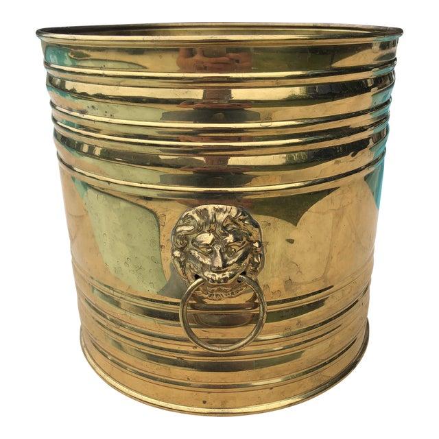 Vintage English Brass Dual Lions Head Planter For Sale