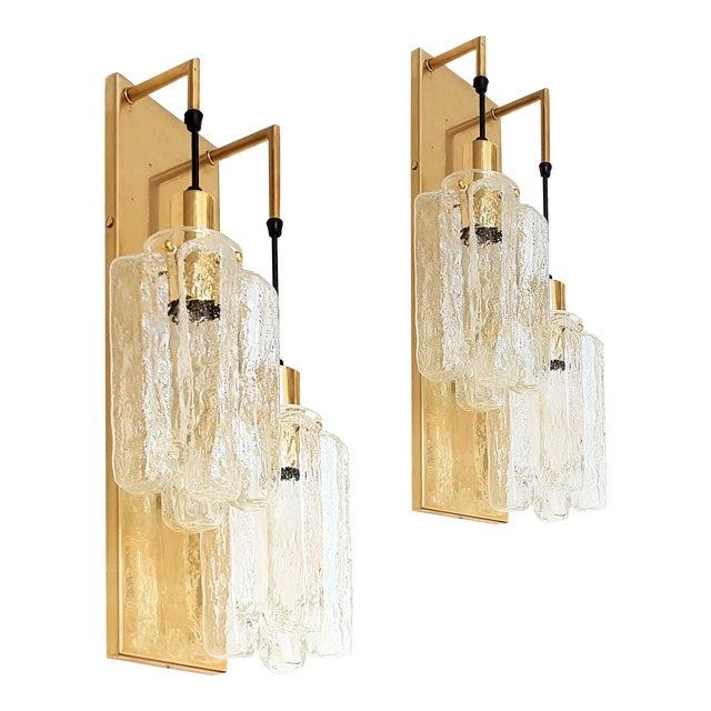 Murano Glass Kalmar Brass Mid Century Modern 2-Lights Sconces - a pair For Sale