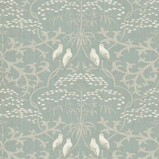 "Lewis & Wood Bella Eucalyptus Extra Wide 52"" Wallpaper Sample For Sale"