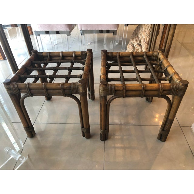 Vintage Tropical Bamboo Rattan Console Table and Benches - 3 Pc. Set For Sale In West Palm - Image 6 of 13
