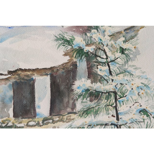Vintage Watercolor Painting of Snow on Trees - Image 4 of 5