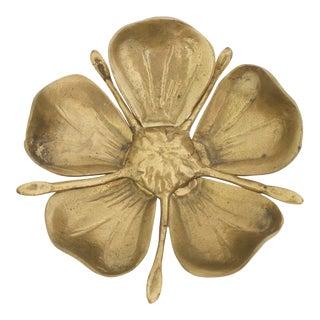 Mid Century Brass Flower Ashtray For Sale