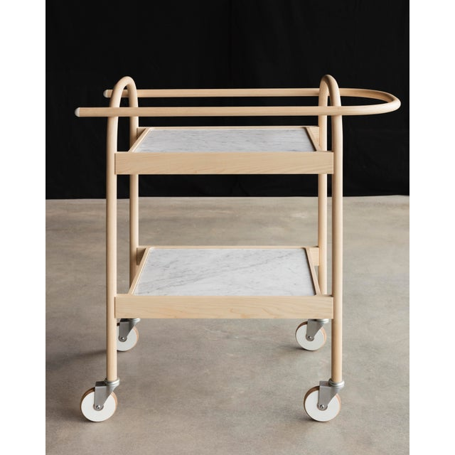 U3 Bar Cart / Serving Trolly in Ash & White Carrara Marble For Sale In New York - Image 6 of 6