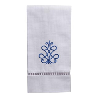 French Scroll Guest Towel, Cobalt Blue- White Linen, Ladder Lace, Embroidered For Sale