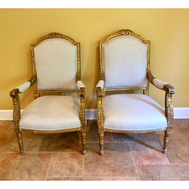 19th Century French Carved Gilt Arm Chairs - a Pair For Sale - Image 13 of 13