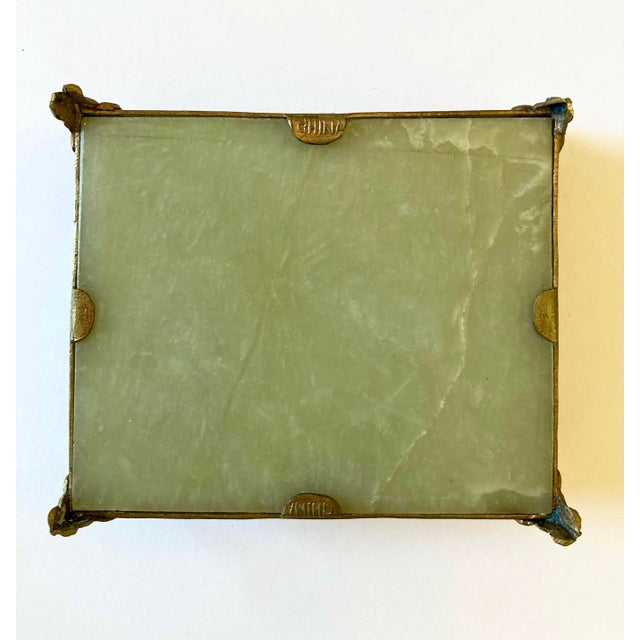 Antique Chinese Jade & Brass Box For Sale - Image 4 of 9
