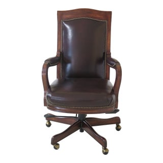 Maitland Smith 1015 Swivel Mahogany & Leather Desk Chair For Sale